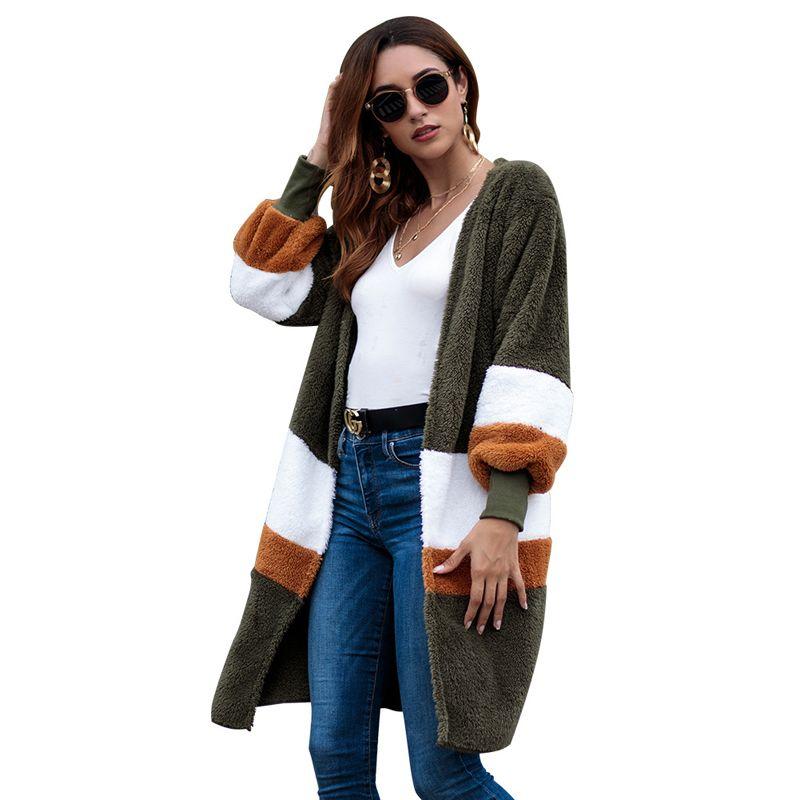 30ad34d65e5f8 2019 2018 New Plush Patchwork Warm Faux Fur Coat Winter Fluffy Teddy Stripe  Long Cardigan Fake Fur Autumn Casual Furry Coat Female From Jiehan shop