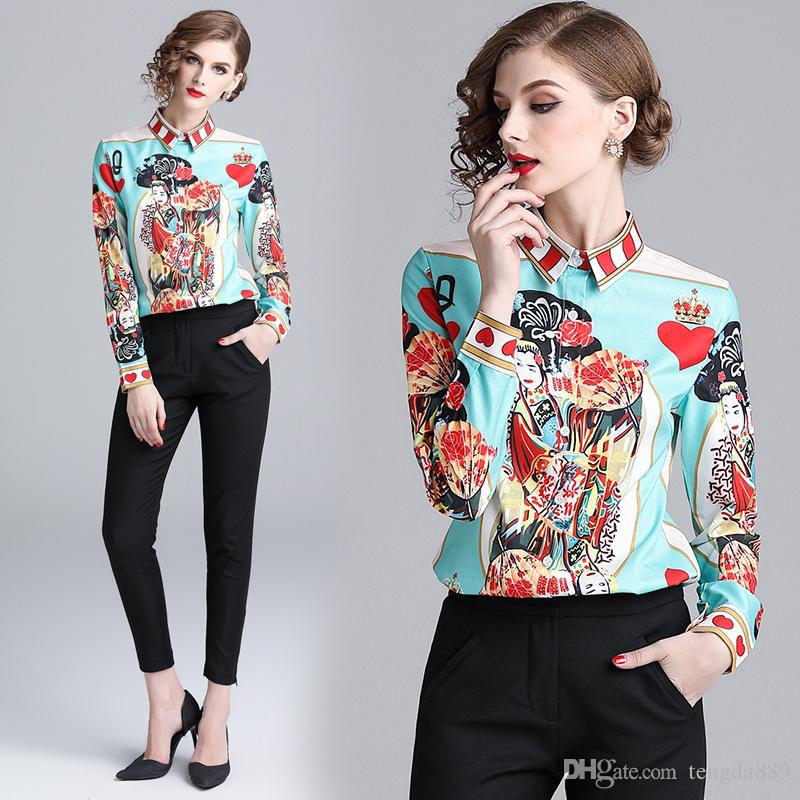 2eca8965855d57 2019 Spring Fall Runway Vintage Carton Lady Print Collar Casual ...