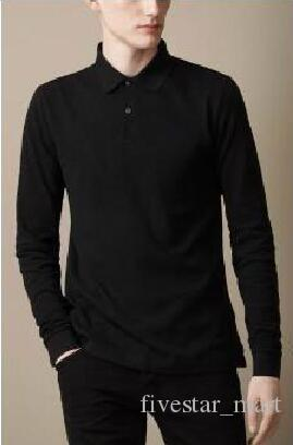 Hot Buy Spring Men London Brit Casual Shirts Long Sleeve Solid Shirt Cotton Business Polo Tees White Black Blue Brown 1123