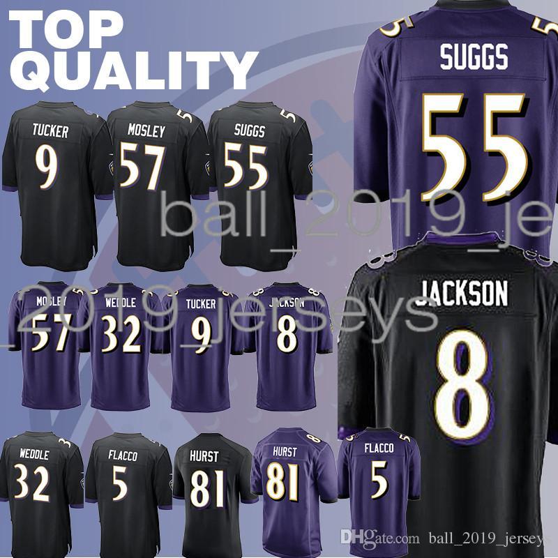 huge discount a2b1b be411 Raven jerseys 81 Hayden Hurst 8 Lamar Jackson Baltimore 55 Terrell Suggs 5  Joe Flacco jersey