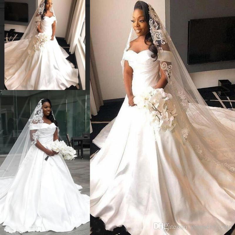 Robes De Mariée De Taille Plus Sud Africain En Satin à L épaule Longue Traîne Train Plis Robe De Mariée Pas Cher Style Champêtre Robes De Mariée