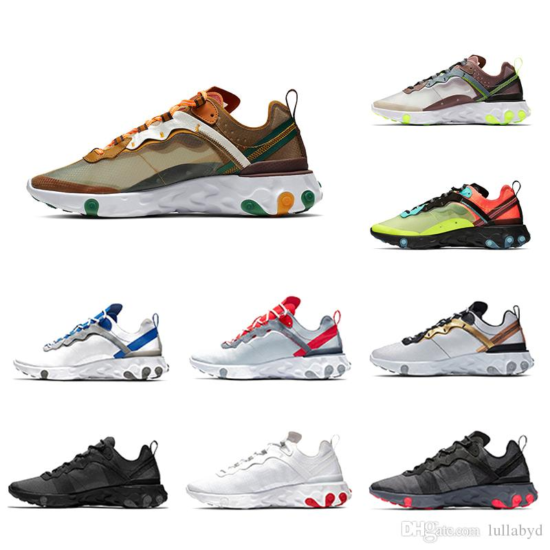 36-45 Hot Orange Peel Royal Tint React Element 87 55 Zapatillas de running Mujer Azul Chill Sail Green Mist Hombres Entrenador Zapatillas deportivas