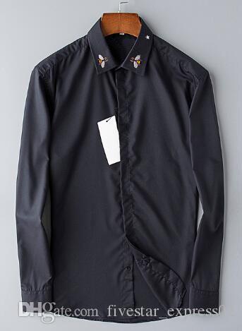 Global New Frühling / Herbst Männer Casual Shirts Bee Star Kragen Langarm Business Formal Shirt Mode Herren Businesshemd Schwarz S-3XL