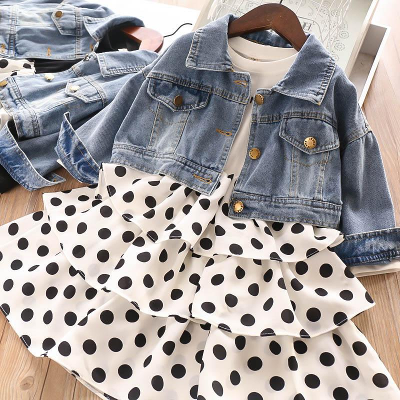 Fashion girls designer outfits girls fall boutique clothing kids designer clothes girls suits denim jackets+dots princess dress 2pcs A7912