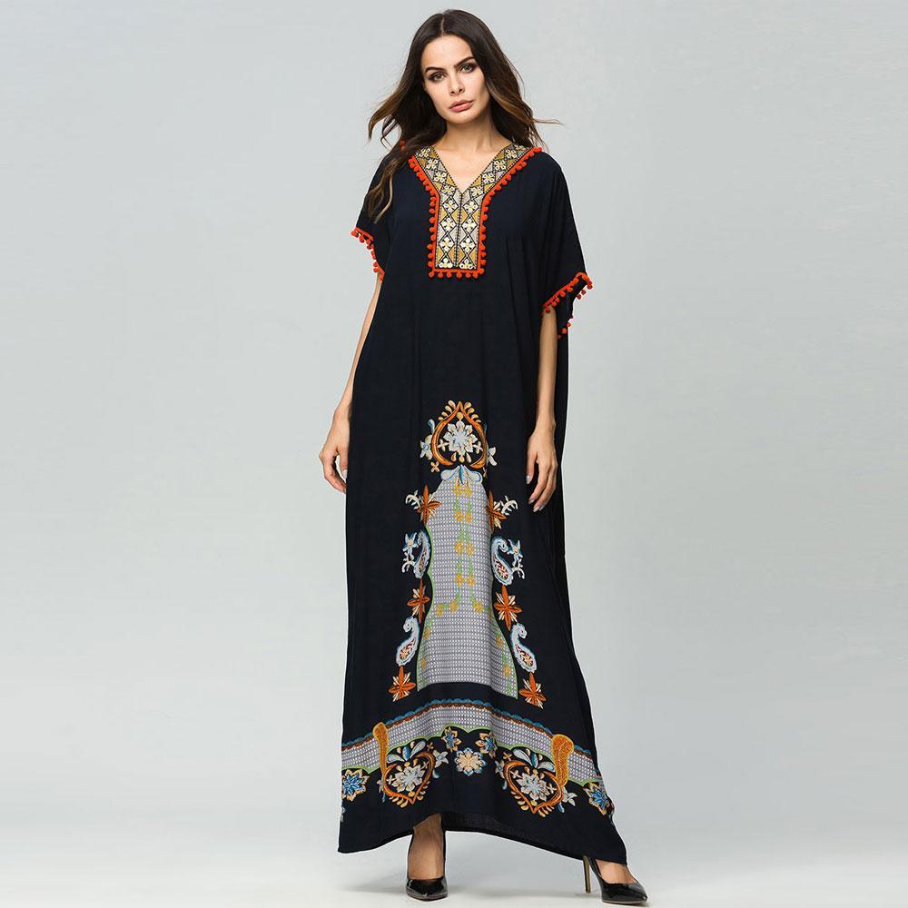 99c97f66f76c Acquista Musulmano Nero Abaya Vintage Ricamo Floreale Patchwork Manica  Pipistrello Pipistrello Donne Allentato Maxi Vestito Dubai Arabo Eid Abito  Abito ...