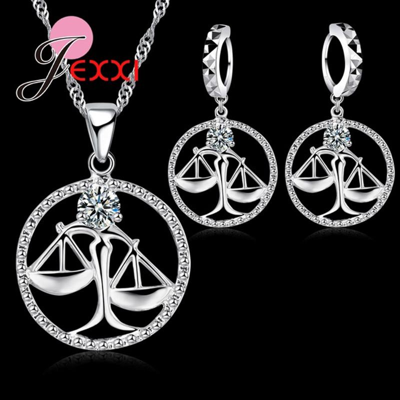 d276fba0e53 2019 GIEMI Precious Fancy Libra Round Pendant Necklace Earrings With Clear  Crystal 925 Sterling Silver Women Party Jewelry Sets From Ximamout, ...