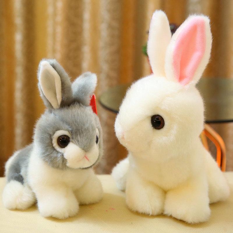 2019 Simulation Rabbit Stuffed Animals Fluffy Soft High Quality Grey