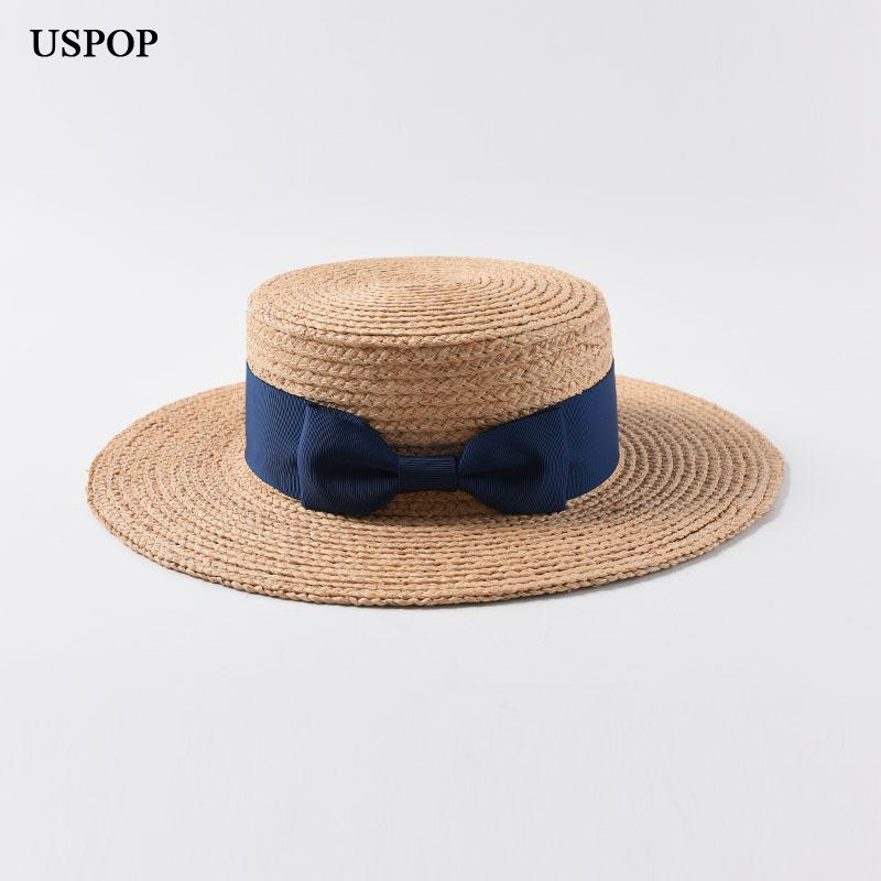 dfa4b8e6d0e USPOP 2019 New Women Raffia Straw Hat Female Natural Straw Sun Hats Casual  Bow Knot Flat Top Hat Summer Wide Brim Beach Vintage Hats Mens Caps From  Hoganr