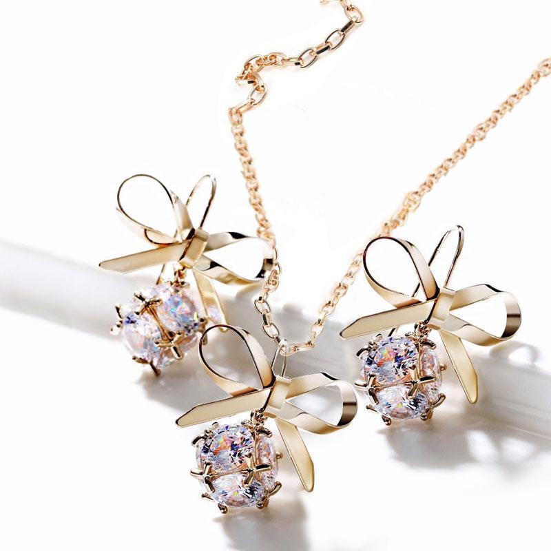 3ebd569662ddf 2019 Fashion Women Elegant Sweet Bow Tie Necklace Earrings With ...