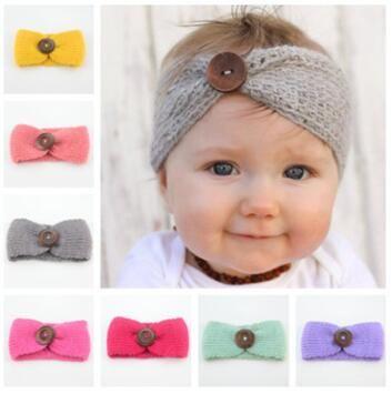 Newborn Headband Turban Button Ear Hot Winter Crochet Mesh Headwear