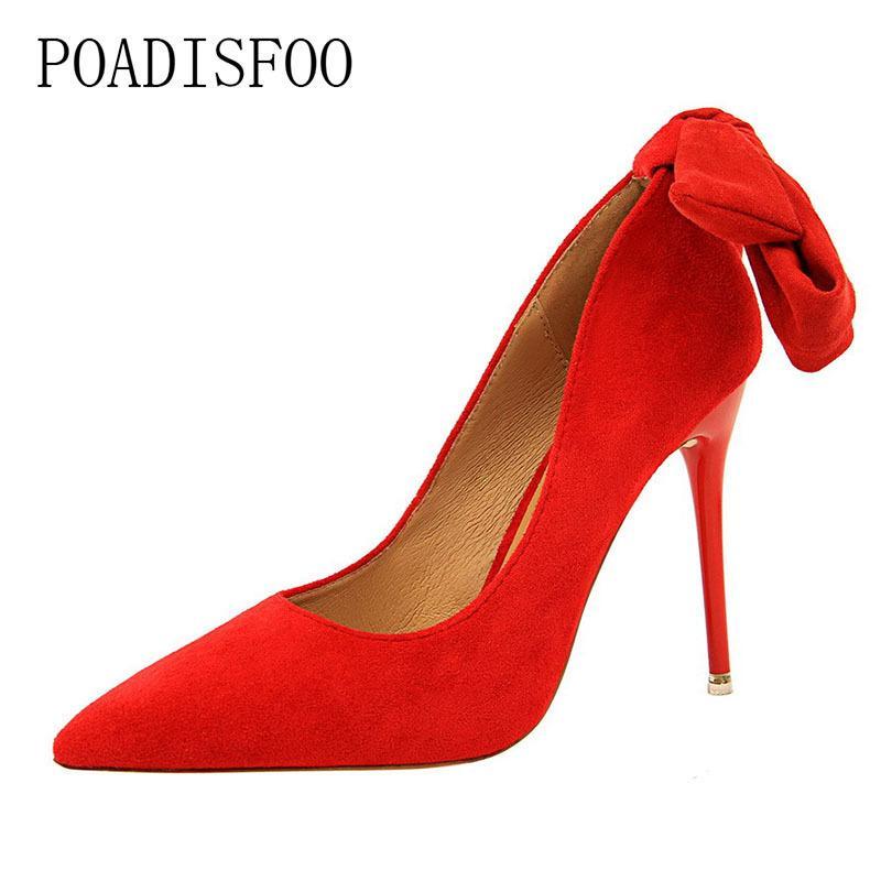 da2a073f5b Compre Vestir Poadisfoo Vento Com Alta Salto Alto Bem Com Camurça Simples  Boca Rasa Apontou A Palavra Sapatos De Arco Sapatos De Salto Alto .
