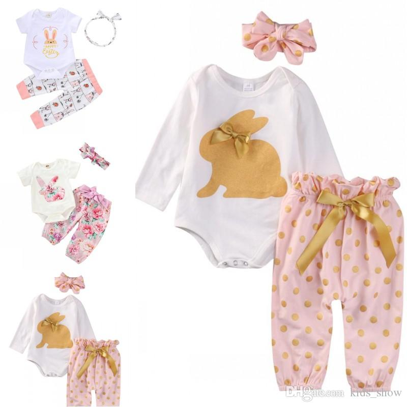 d65cfa20e Baby Girls Short Long Sleeve Easter Rabbit Romper+Dot Flower Printed  Pants+Headband 3 pieces Outfit Suit Kids Cute Clothing Set 3 Colors