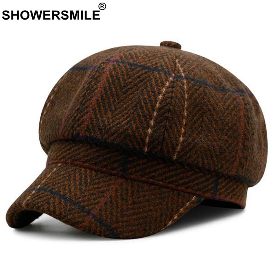 5446e098b1bd Venta al por mayor de Herringbone Newsboy Cap Hat Marrón Vintage de lana  Gorras Vintage estilo británico Gorras planas Otoño Invierno Gorras y ...