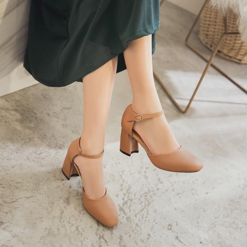10908bdc Compre Zapatos De Vestir 2019 Nueva Hot Tobillo Hebilla Mujeres Bombas  Cuadrados Tacones Altos Punta Redonda Pu Cuero Mujer Señoras Calzado  Impermeable Para ...