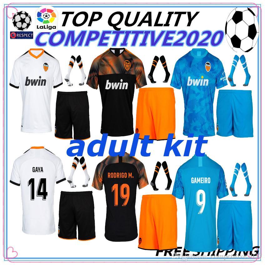 wholesale dealer 6734c 90442 adult kit 19 20 Valencia CF Soccer Jerseys GAYA Valencia 2019 2020 PAREJO  GAMEIRO RODRIGO Jersey C.SOLER S.MINA Football Shirt