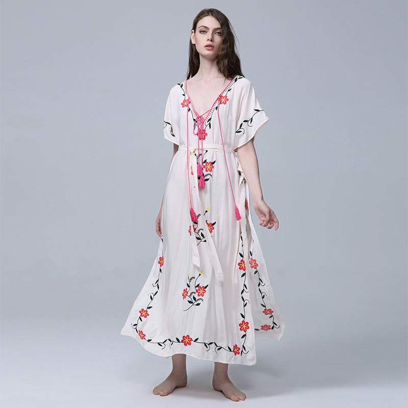 a05727c6ec4 Best Bohemian  New Sexy Women S Clothing Tour Boho Flower Embroidery Kimono  Dress Beach Resort Sun Protection Blouse Beach Cover Up Elegant Dress Cheap  ...