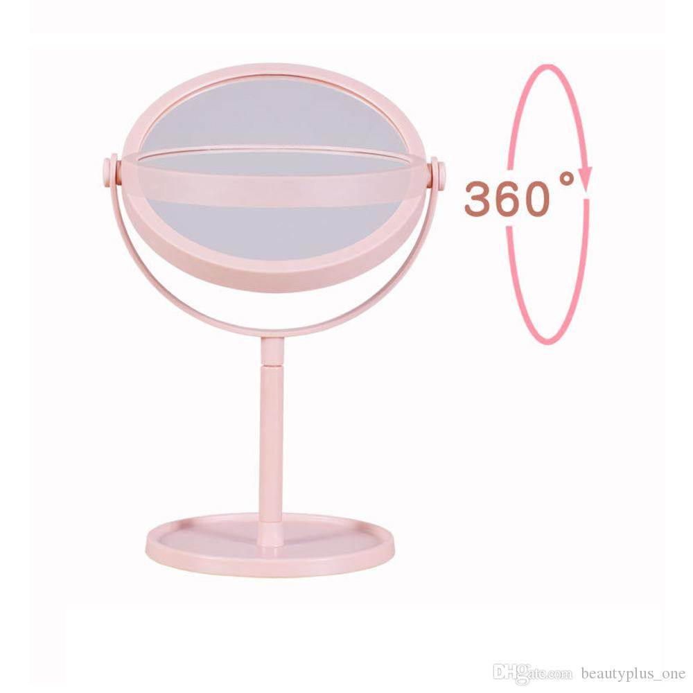 360 Rotation Round Shape Desk Type Double Side Cosmetic Makeup