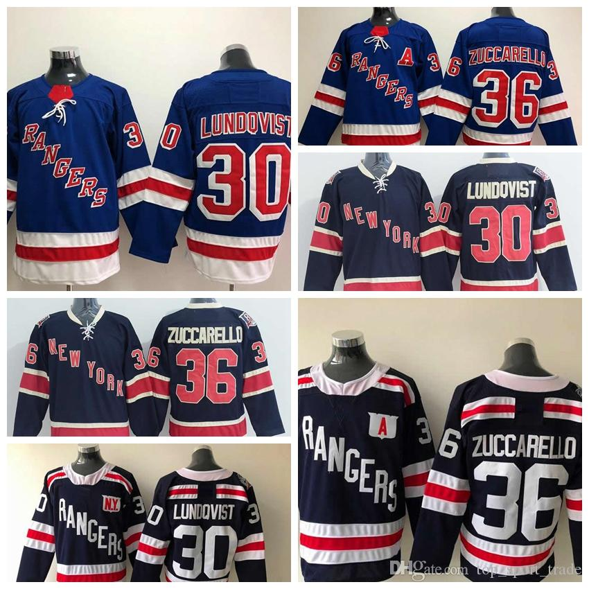 online retailer bc90c ebefa 2011 Vintage 85th Anniversary New York Rangers #30 Henrik Lundqvist #36  Mats Zuccarello Hockey Jerseys Best Quality Alternate Navy Blue