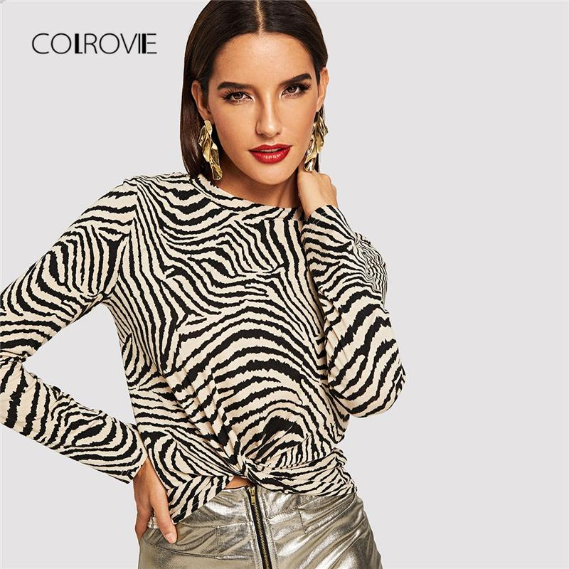 6025c6cabab55 COLROVIE Black And White Animal Print Twist Casual Winter T Shirt Women  2018 Fashion Long Sleeve Shirt Office Ladies Tops   Tees Moto Shirts Tee T  Shirts ...