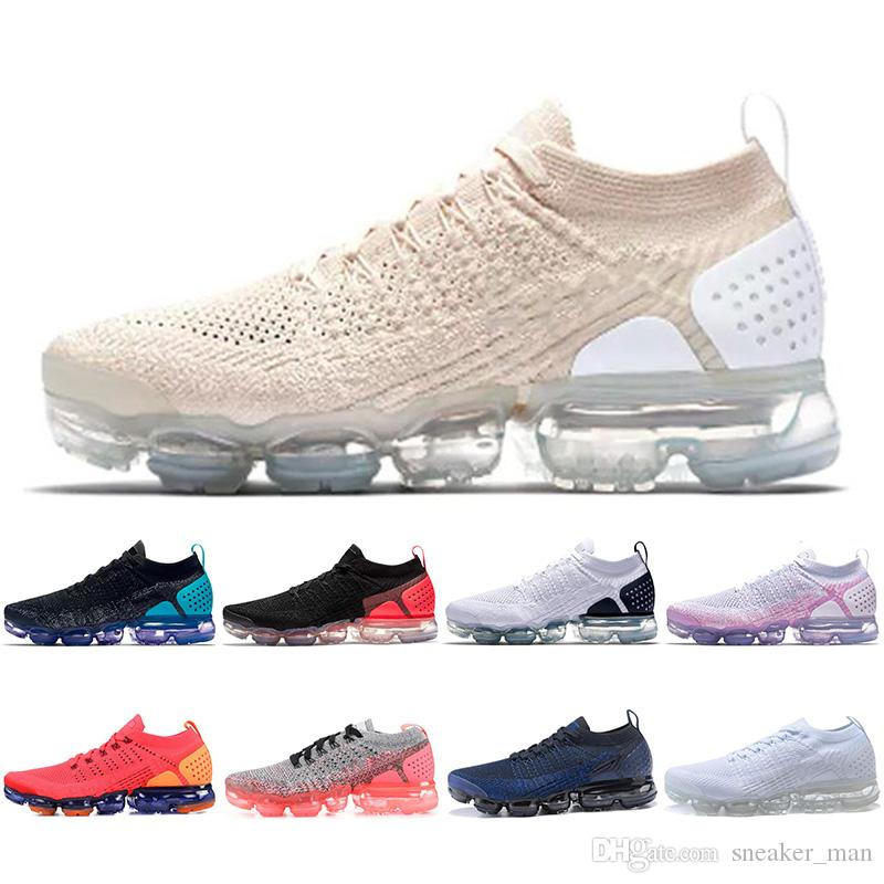 detailed look 17c87 7ca2e Nike Air Vapormax Flyknit 2018 2.0 Scarpe da corsa Light Cream VM 2.0 Uomo  Donna Triple Nero Bianco Olympic Red Orbit Royal Blue Gym rosso da donna ...