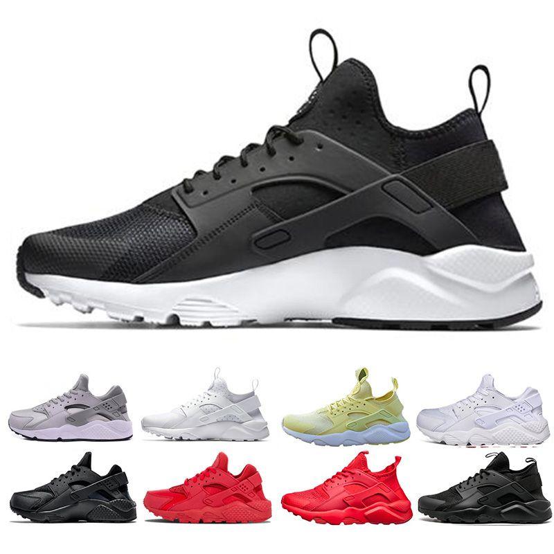 New Designer Huarache Ultra Run Shoes Triple White Black Red Men ... 1590ff8e0