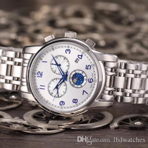 0c16d669e100 Compre Moda Tres Ojos Seis Agujas Calendario Sun Moon Reloj Estrella Reloj  Mecánico Automático Reloj Suizo De Negocios Para Hombres A  195.28 Del  Lbdwatches ...
