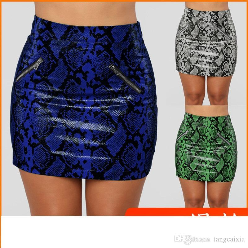 347c6f9f0ec9 2019 Mini Skirt Snakeskin Print Casual High Waist Shinny Striped PU Leather  Side Zipper Bodycon Plus Size Short Skirt From Tangcaixia, $28.93    DHgate.Com