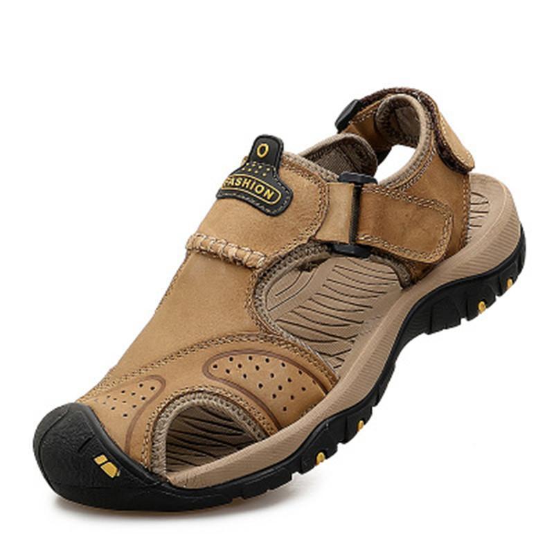 087b362d9 Compre Caminhadas Andando Sandálias Homens Praia Chinelos Sapatos De Verão  Ao Ar Livre Sapatilha De Couro Genuíno Roman Sandália Sandálias Casuais ...