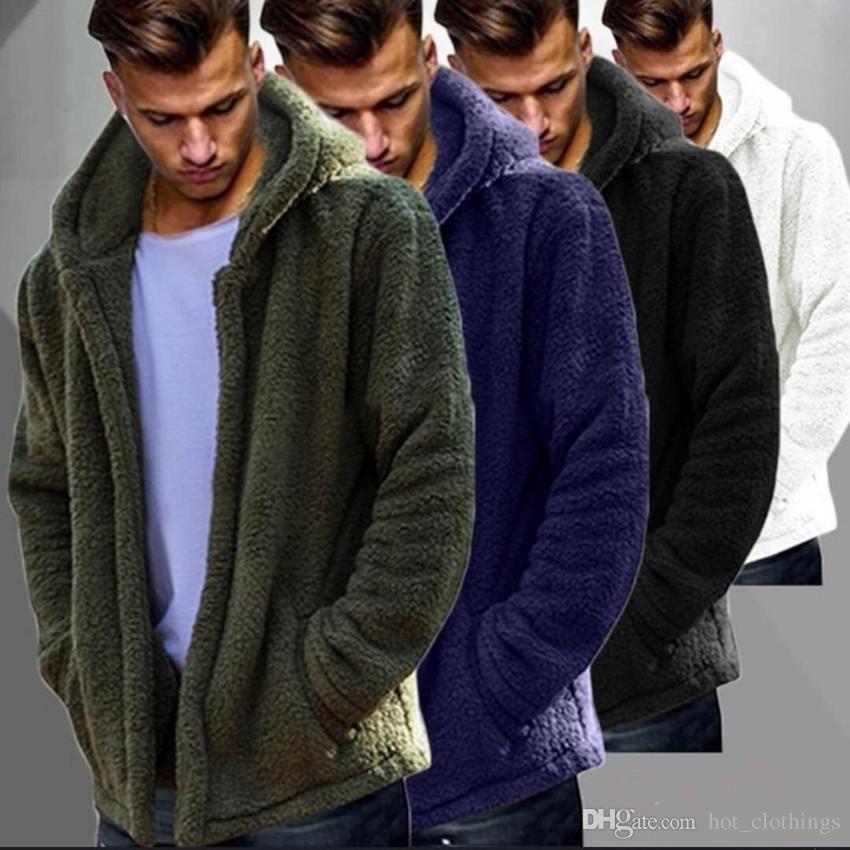 3XL Men Winter Warm Teddy Bear Long Sleeve Fleece Jackets Oversize ... b24c502941fd