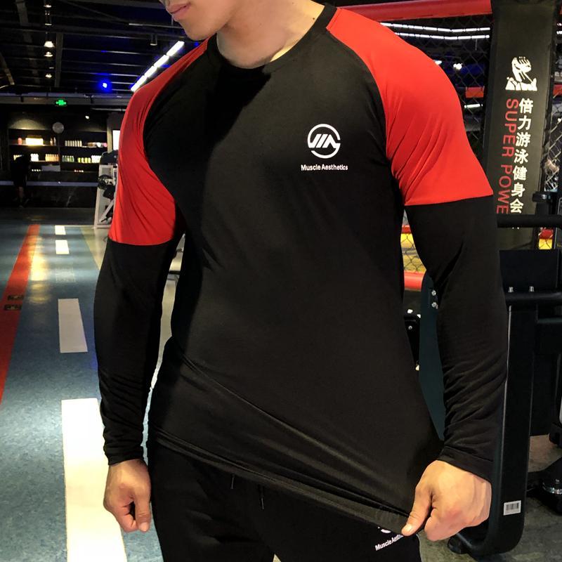 a448dcf1c22 NEW Men Quick Dry T Shirt Long Sleeve Sport Sportswear Men Loose Fitness  T-shirt Outdoor Running Football Patchwork Clothing