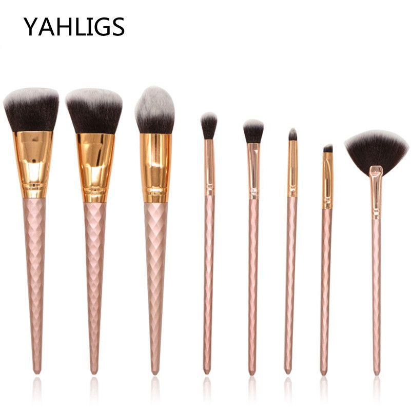fdf65a0a4 Compre YAHLIGS 8 Unids Oro Rosa Completo Profesional Pinceles De Maquillaje  En Polvo Productos Básicos Corrector Sombra De Maquillaje Maquillaje Kit De  ...