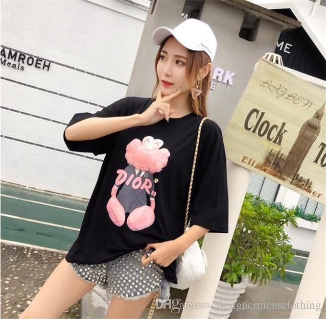 Women Pink Bear Designer Tshirts Fashion O-neck Tops Short Sleeved 3D Digital Printed Shirts Women Clothes