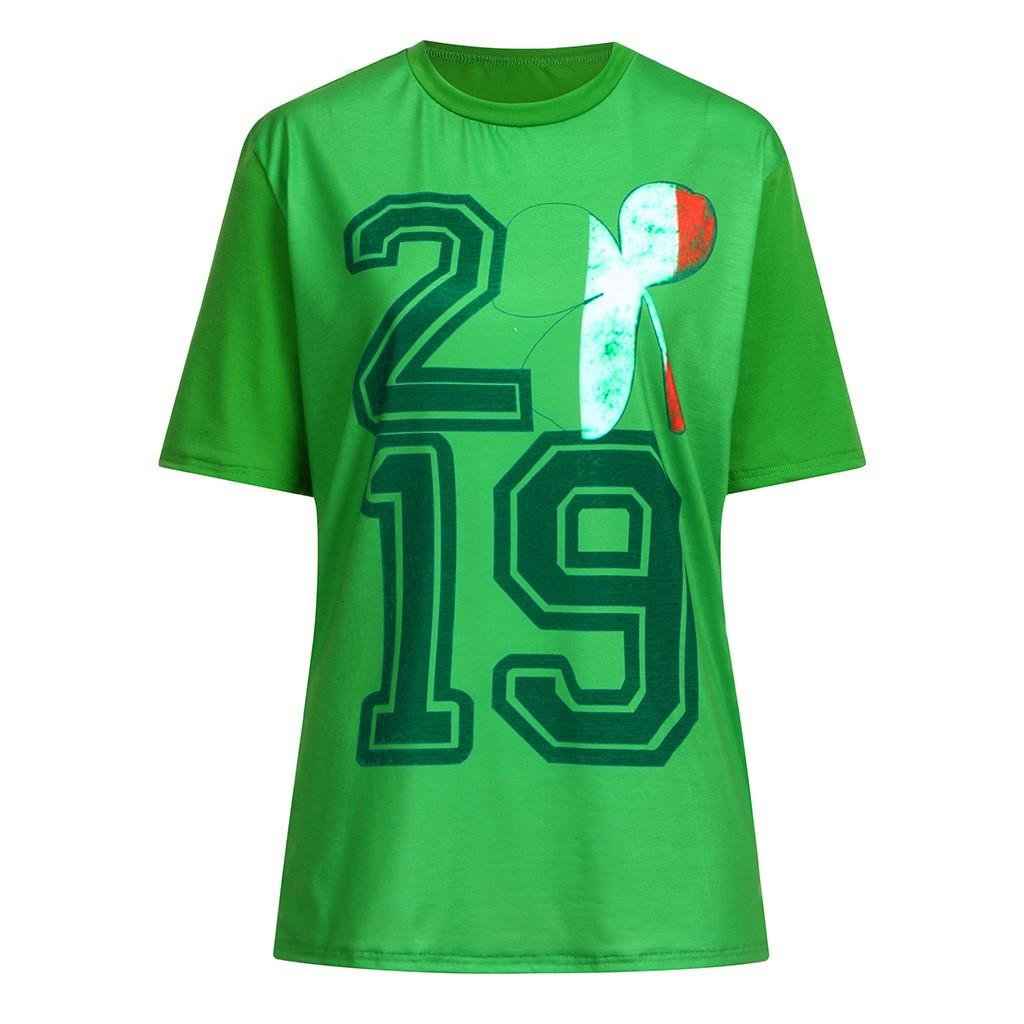 Funny Short Sleeve T-Shirt Of Men 2019 Casual Mens Clothing Couple St Patrick's Day Print Green T Shirt Streetwear Top