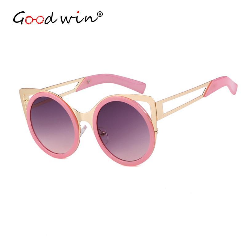 0228e8254 Good Win Fashion Sunglasses Cat Eye Women UV400 Coating Mirror Pink Female Sun  Glasses Hollow Legs Summer Beach Retro Shades Prescription Glasses Sunglass  ...