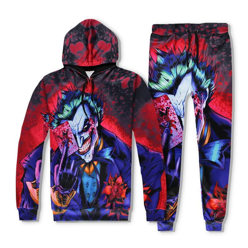 9f4dae302c08 2019 Men S Tracksuits Christmas Eve Dark Knight Joker Poker Cartoon Poker  Clown 3D Hoodie Suit From Meimeiyi