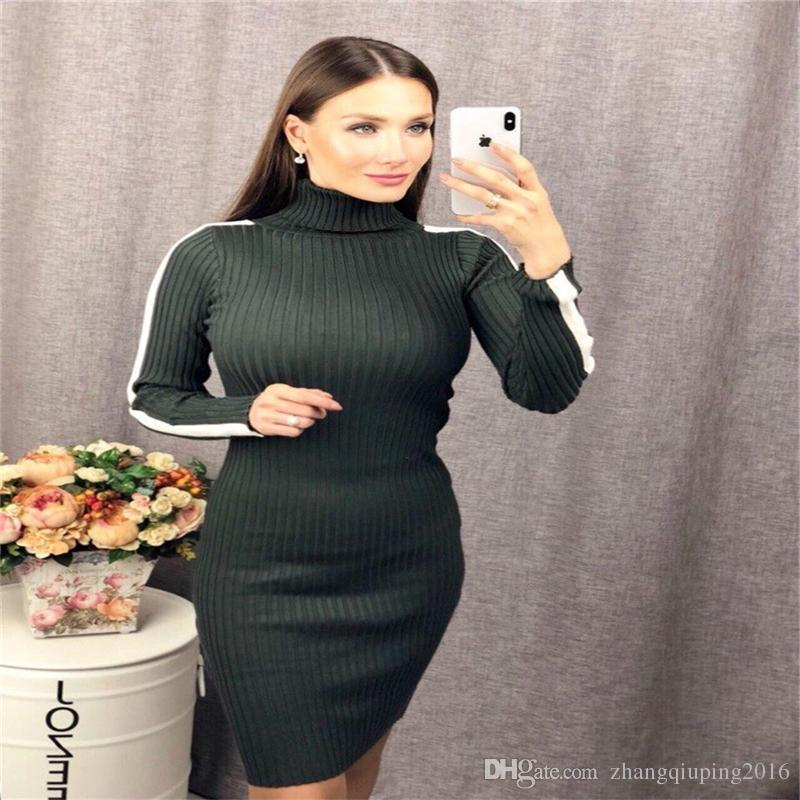 15406ae07c68 Women S Sweater Dress Winter Long Sleeve Knit Dress High Neck Slim Sexy  Nightclub Party Tight Plus Size Long Sweater Dress Summer Dress Floral  White And ...