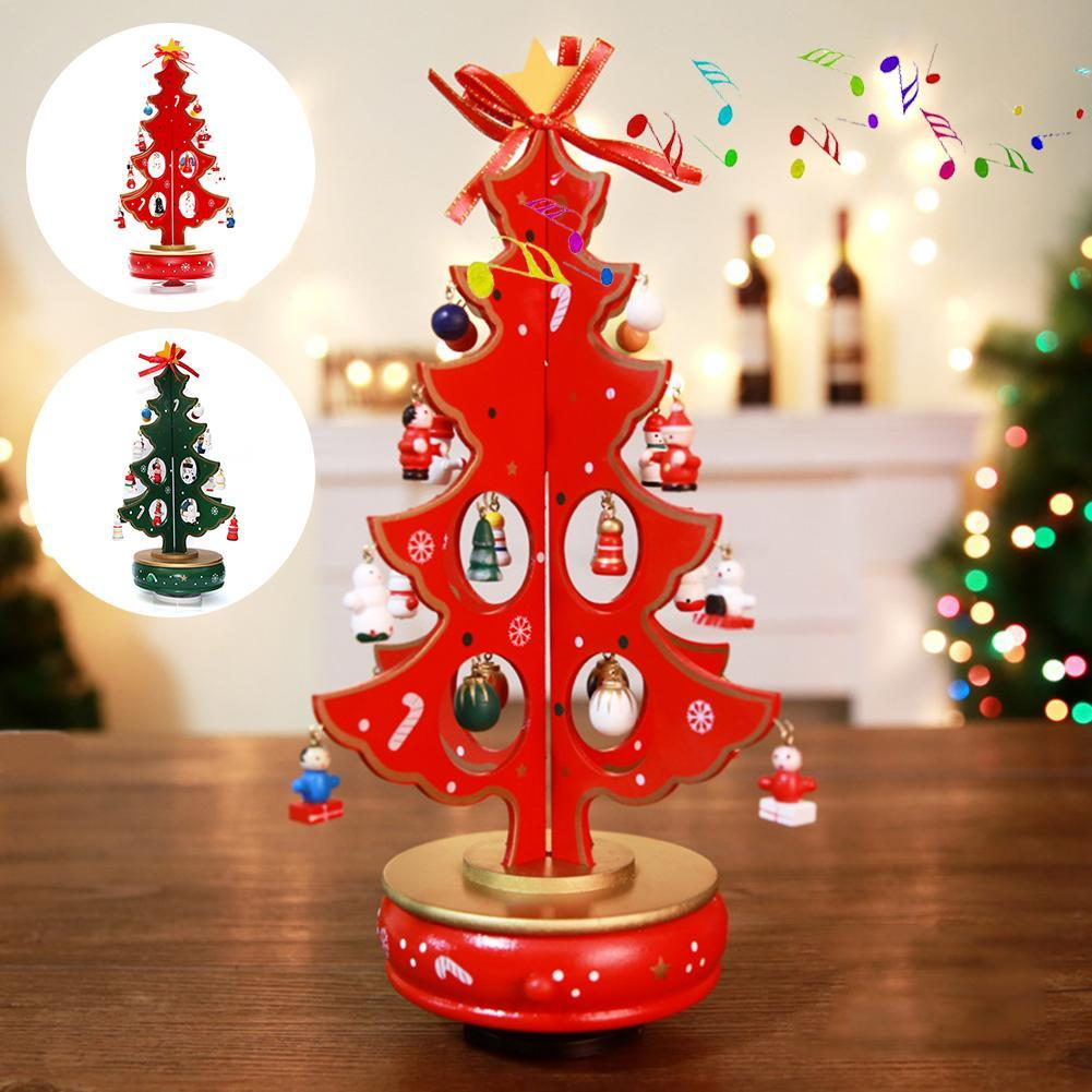Classic Music Box Christmas Tree With Pendants Wooden Clockwork Design Handmade Music Box For Birthday Valentines Xmas Gift