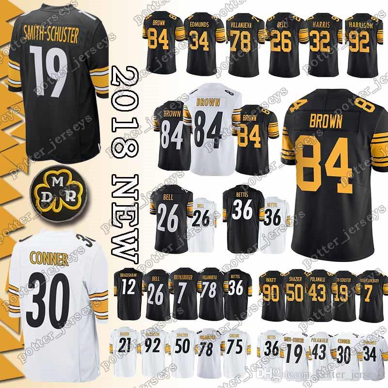 82783e25270 2019 Pittsburgh Steeler Jersey 19 Juju Smith Schuster 30 James Conner 90 T.J.  Watt 7 Ben Roethlisberger 78 Alejandro Villanueva Jerseys Cheap From ...
