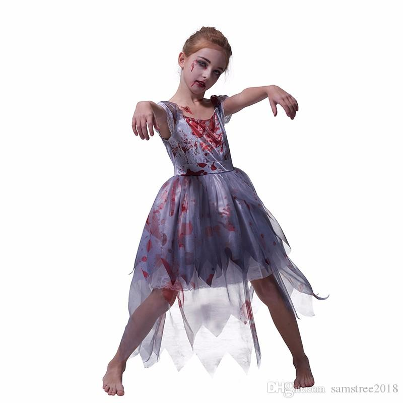 Girls Halloween Zombie Bride Costume Horror Wedding Dress Up Set