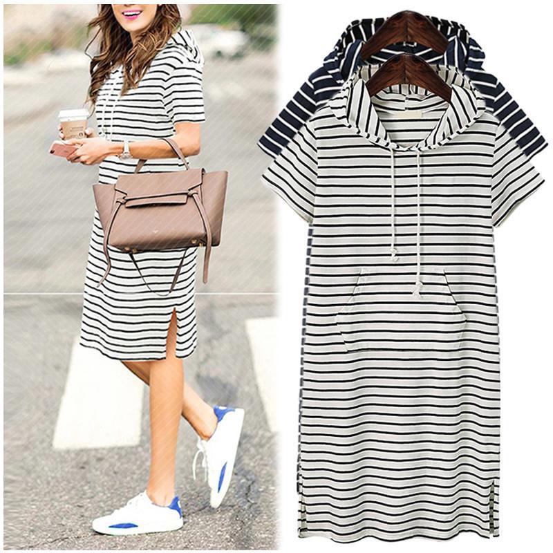 Plus Size 4XL 5XL Women Hoodies Shirt Dress Summer Short Sleeve ...