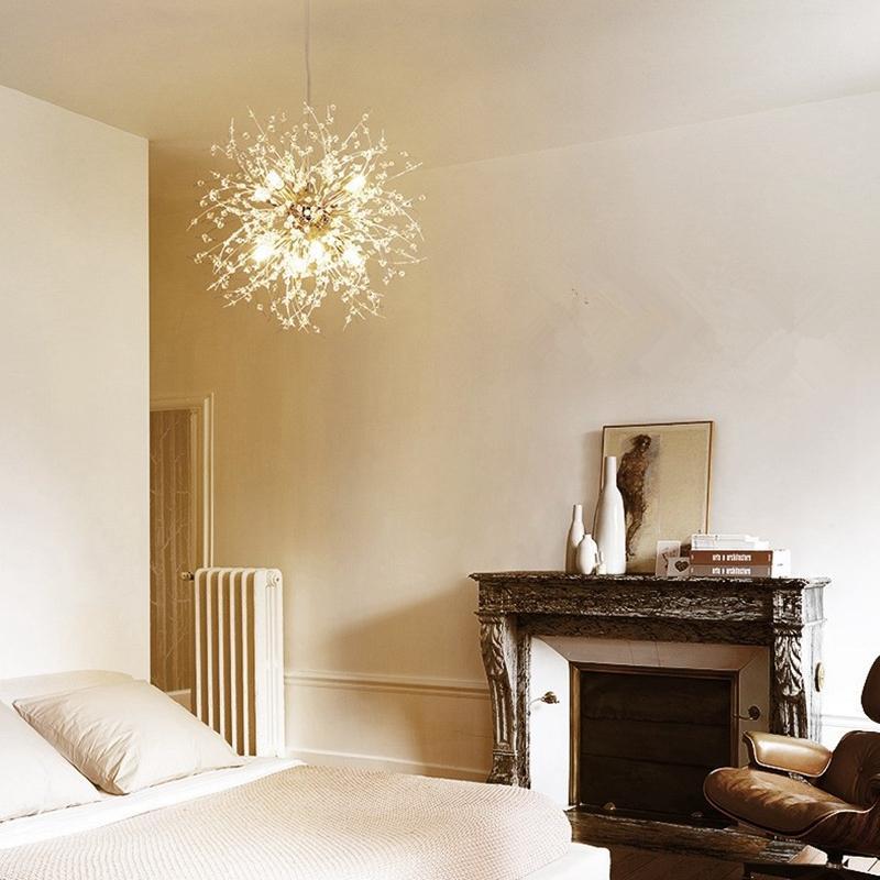 JESS Dandelion Crystal Chandelier Loft Bedroom Firework Hanging Lamp ...