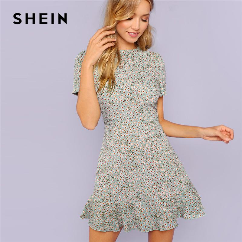 f5a67173d1 2019 Shein Multicolor Allover Floral Print Ruffle Hem Textured Dress  Elegant Casual Fit And Flare Dresses Women A Line Summer Dress T190410 From  Zhengrui05, ...