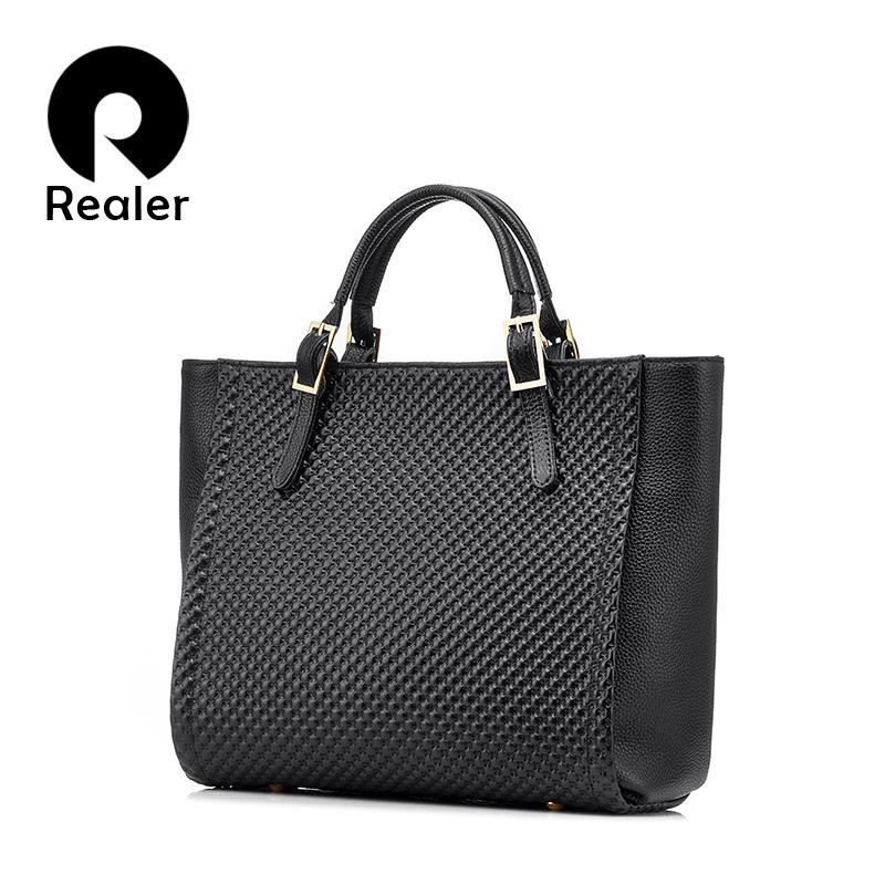 8f77333a5402 REALER brand genuine leather tote bag high quality solid handbag fashion  women handbag female large shoulder bag