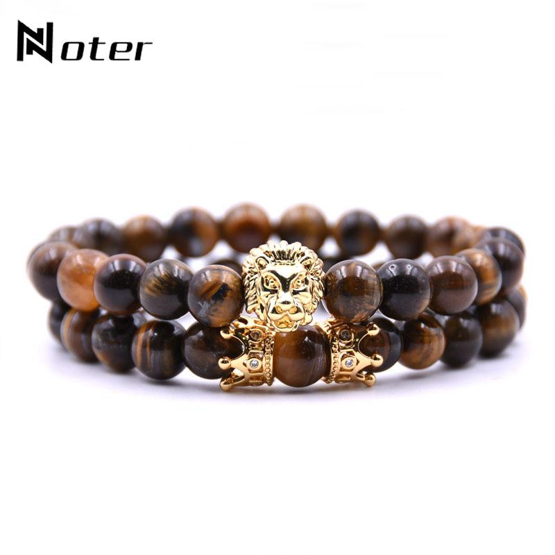 Acheter / Set Roi Lion Bracelet Charme Couronne Couple Braclet 5 Types De  Pierre Naturelle Perle Braslet Pour Hommes Main Bijoux Accessoires De  $37.11 Du