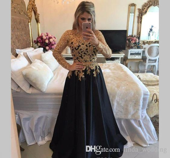 Simple Wedding Dress For Godmother: 2019 Mother Of The Bride Dresses Black Gold Lace Long