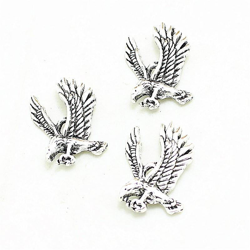 Sweet Bell 200Pcs 18*25mm Vintage Antique Silver Eagles Charm Pendant Jewelry Findings 3B361