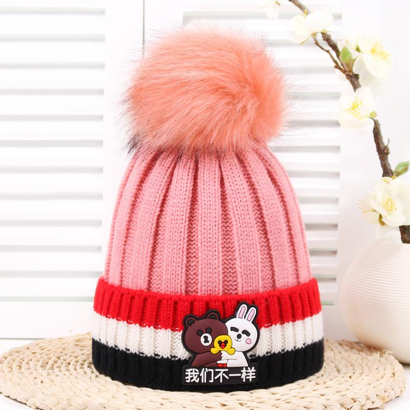 2019 1 5 Winter Cartoon Doll Stickers Elastic Children S Wool Hat Kids Thin  Cashmere Warm Boys Hats And Caps Girl Knitted Hat Beanies From Duriang d5b4166c194