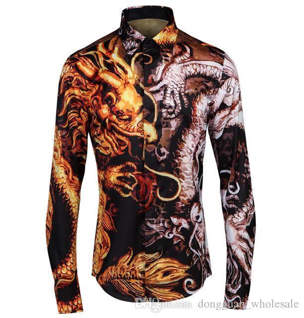 Moda 2d Hombres Material Alta Calidad Camisas Larga Para Dragones Con Marca Manga Hombre Camiseta Estampado De TclFK1J