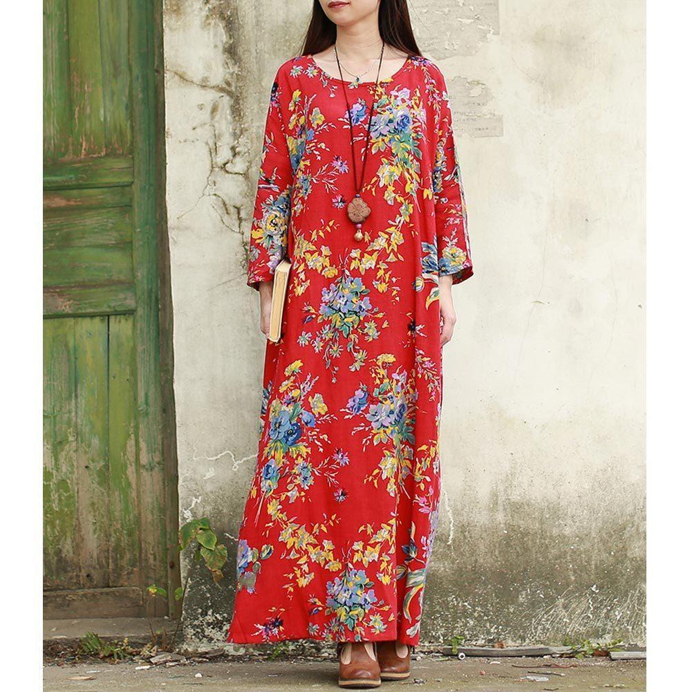 Vintage Fashion Women Maxi Floral Dress