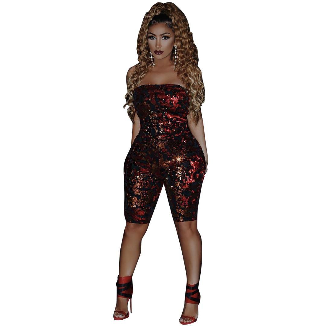 mieux choisir prix réduit éclatant Sans bretelles Barboteuses Femmes Corps Femme Combinaison Paillettes Sexy  Été Combinaison Femmes Dos Nu Vin Rouge Bodysuits Combishort Clubwear